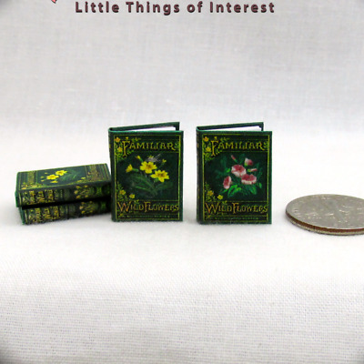 FAMILIAR WILD FLOWERS BOOK SET Illustrated Miniature Dollhouse 1:12 Scale Books