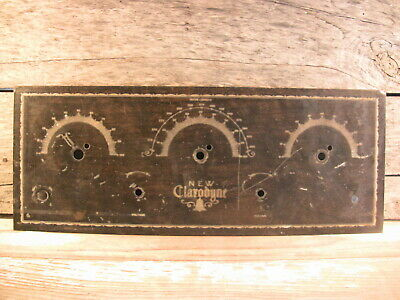 Antique Breadboard Radio Part Metal Face Plate Engraved New Clarodyne 1920s Sign