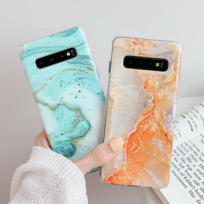 For Samsung Galaxy S10+ S10e S9 S8 Matte Marble Pattern Soft Silicone Case Cover