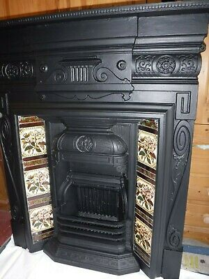 Cast Iron Fireplace Victorian / Edwardian antique fire place with tiles