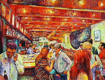 EVENING AT THE RED BAR by Ksenia FILIPPOVA, Original oil Painting 16x20 inches