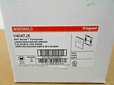 10 Nib Wiremold V4047Jx Receptacle 2Gang Single Round Open Ivory (2 Avail)