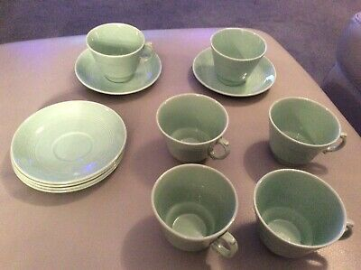 Woods Ware Beryl Vintage Retro ribbed China Green 6 Cups & 6 Saucers