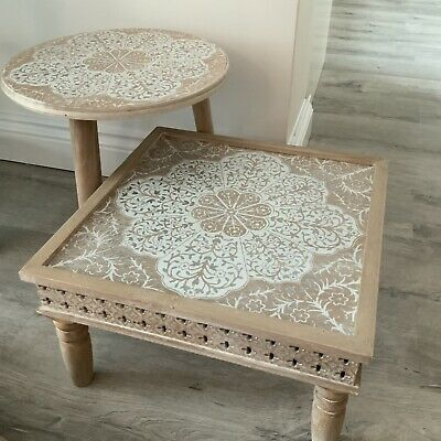 Mandala Side Table Low Small Moroccan Design Wood Coffee Square Circle Silver
