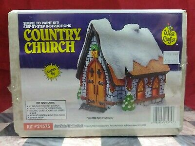 """Vintage, Wee Crafts, Christmas Village building Kits 6"""" Pre-cast Country Church"""
