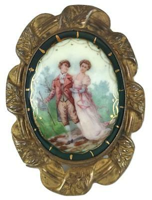 Victorian French English Painted Porcelain Ormolu Pin Brooch Regency Jane Austen