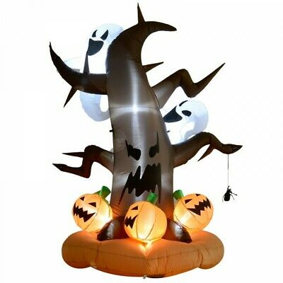 8ft Halloween LED Outdoor Inflatable Decoration Dead Tree Ghost on Top Pumpkin
