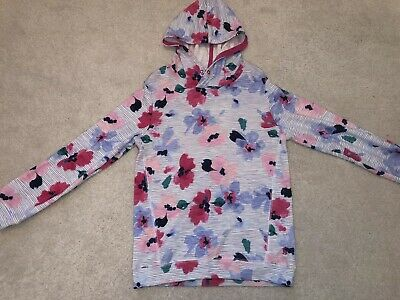 Ln Joules Girls Blue Floral Hoodie Hooded Pullover Top 9-10 Worn Once