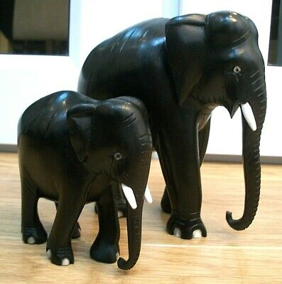 Antique  Victorian Ebony  Hand Carved Wooden Elephants Bull With Calf