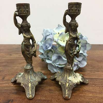 French Pair Antique or Vintage Brass Candle Holders Candlesticks  - OK091 --