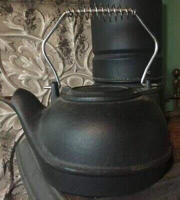 Vintage  Cast Iron Tea Pot Hearth Water Kettle Rustic