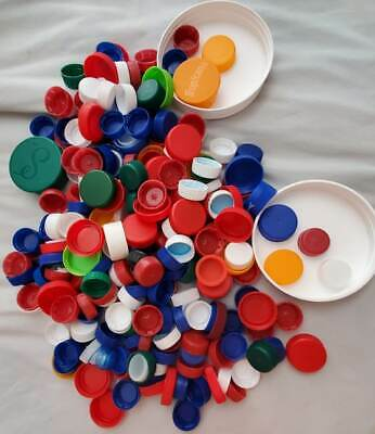 PLASTIC CAPS-Assorted Colors Arts & Craft Supplies Recycled Lids Project FREESHP