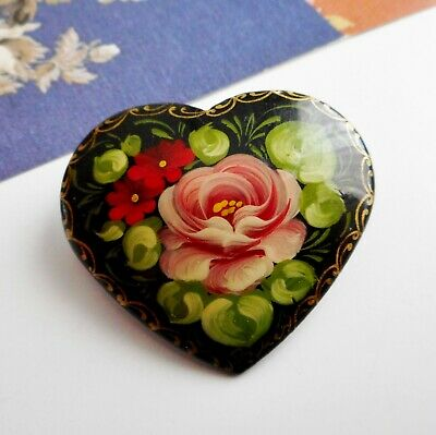 Pretty Vintage Heart Shaped Timber Black Lacquer Russian Folk Art Rose Brooch