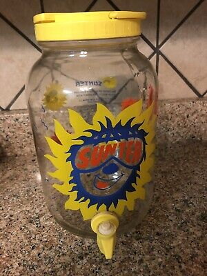 Vintage Sun Tea Cartoon Suns Recipe Jar Lemonade Gallon Glass Jug Drink Spigot