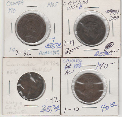 4 Canadian large pennies 1898 H- 1903 - 1900 H - 1905 books at 140.00