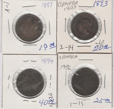 4 Canadian large pennies 1887 - 1893 -1894 - 1896  books at 104.00