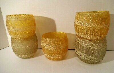 5 Vintage Mid Century Modern Spagetti Roly Poly Glasses 3 Orange & 2 ?