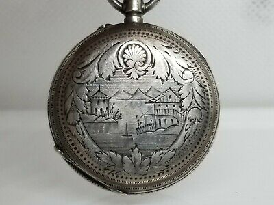 Antique Sterling Silver Jacot Locle Pocket Watch Oriental Scene Carved c.1860's