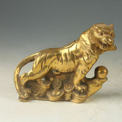 Exquisite Chinese Old Brass Gilt Cheetah Statue YR52