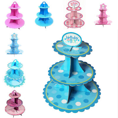 3 Tier Baby Cupcake Stand Cake Display Decorations Blue Pink Party Supplies