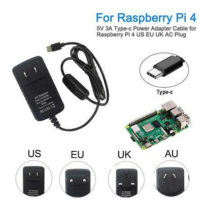 For Raspberry Pi 4 /4B Power Adapter Type-C USB Power Charger w/ Switching 5V3A