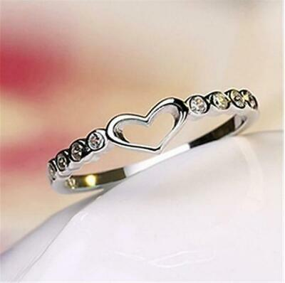 Heart Women 925 Silver Rings White Sapphire Wedding Ring Free Ship Size 6-10