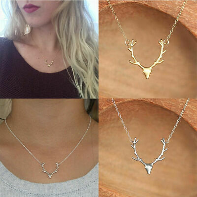 Christmas Deer Reindeer Elk Stag Horn Antler Pendant Adjustable Chain Necklace