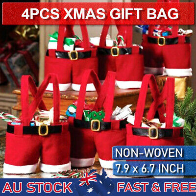 4pcs Red Santa Claus Pants Trick Treat Candy Christmas Gift Bag Sweet Kids Party