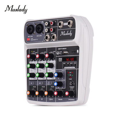 Muslady AI-4 Compact Sound Card Mixing Console Digital Audio Mixer Q6S6
