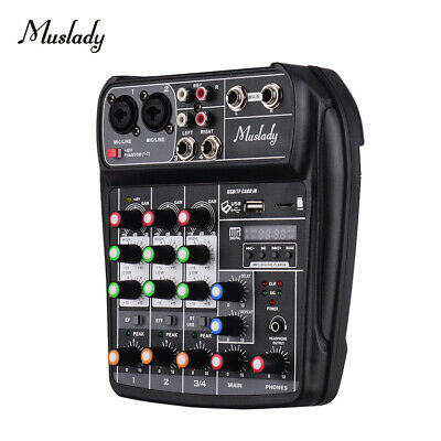 Muslady AI-4 Compact Sound Card Console di missaggio Mixer audio digitale 4 R1B3