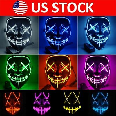 Halloween LED Mask 3 Modes EL Wire Light Up The Purge Movie Costume Party Decor