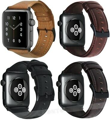 Retro Genuine Leather iWatch Band Strap For Apple Watch 5 4 3 2 1 38/40/42/44mm
