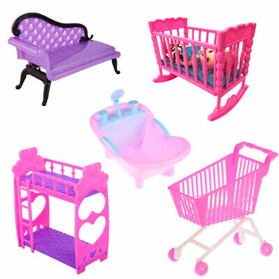 Doll House Furniture Accessory Chair Bed Bathtub Toy for Barbie Kelly Home Decor
