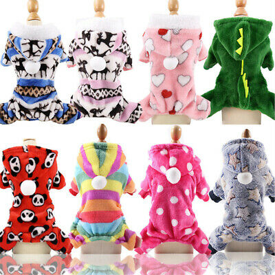 Soft Fleece Dog Clothes Warm Winter Dog Jumpsuit Hoodie Prints Medium Dogs Coat