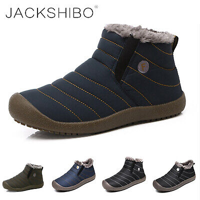 Mens Winter Snow Boots Ankle Fur Lined Warm Shoes Casual Cozy Outdoor Waterproof