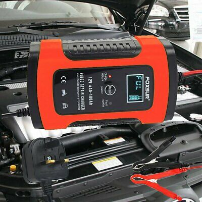 12V 5A Automatic LCD Digital Car Motorcycle Smart Fast Trickle Battery Charger