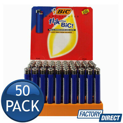 50 x BIC J26 LARGE MAXI DISPOSABLE GAS LIGHTER TOBACCO CIGARETTE BLUE ZIPPO GIL