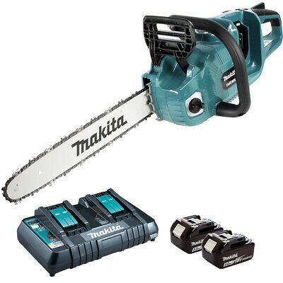 Makita DUC405Z 36V Brushless Chainsaw with 2 x 5.0Ah Battery & Twin Port Charger