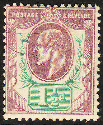 SG 223 1 1/2d  Dull Purple and Green  M9 (1) in average mounted mint condition .