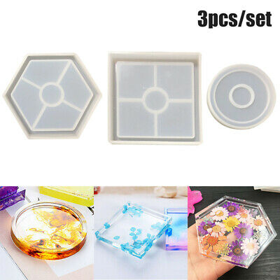 3x Silicone Mold Coaster Resin Casting Jewelry Making Epoxy Mould Craft Tool DIY