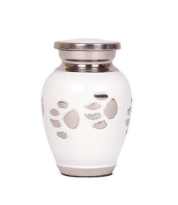 Mini Cremation Urn for Ashes Cat Dog Memorial Keepsake Small White Pet Token Paw
