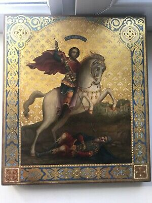"""Antique 19c Russian Orthodox Hand Painted Wood Icon""""Dimitri Solunsky"""" ON GOLD!!!"""