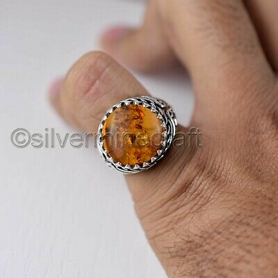 Baltic Amber Gemstone Real 925 Sterling Silver Signet Jewelry Statement Men Ring