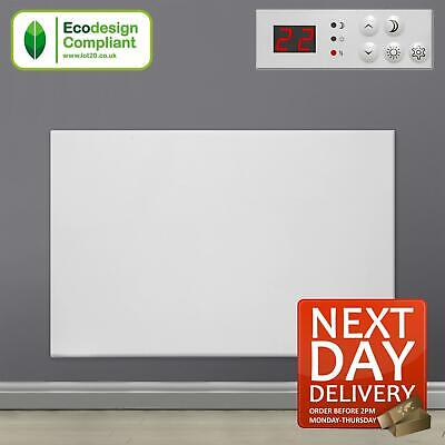 600W Electric Panel Heater Wall Mounted Bathroom Radiator with Thermostat Timer