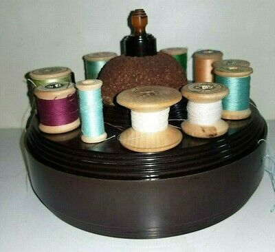 Antique Bakelite Sewing Box, Sewing Tidy with wooden Cotton Reels