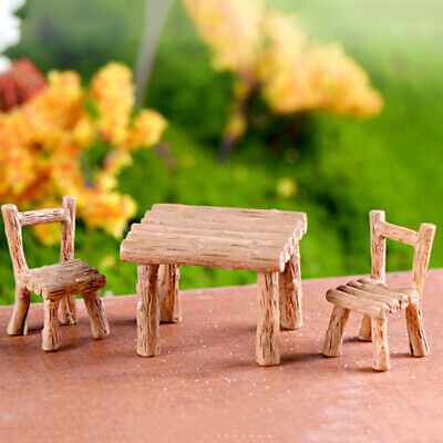 Fairy Garden Miniature Table and Chairs Mini Ornaments Landscape Accessories WL