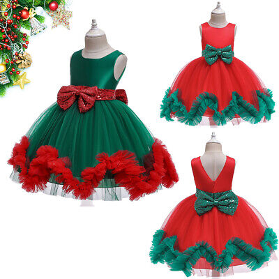 Fashion Girl Christmas Puff Dress Gown Bowknots Princess Dress Christmas Party