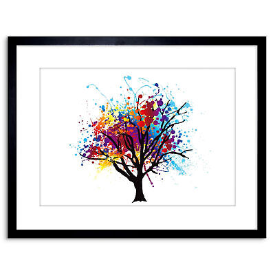 Painting Abstract Colourful Tree Splash Framed Wall Art Print 9X7 In