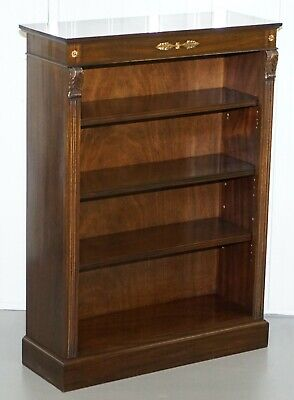 Lovely Dwarf Open Bookcase In Mahogany With Gilt Bronzed Metal Fittings