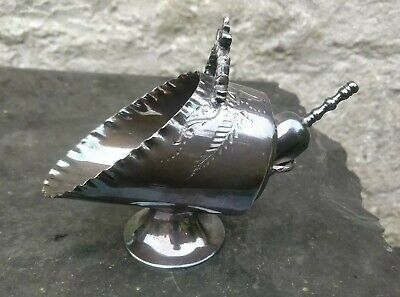 Victorian Novelty Silver Plated Coal Scuttle sugar bowl & scoop no wear to plate